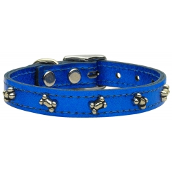 blue leather bone dog collar
