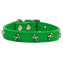 green leather bone dog collar