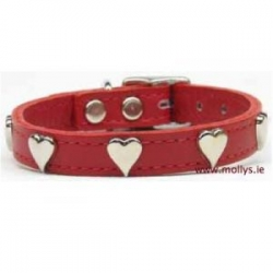 red leather heart collar