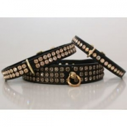 Black Diamante Dog Collar