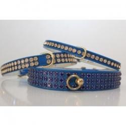 blue diamante dog collar