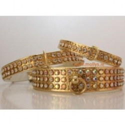 gold diamante dog collars
