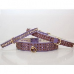 purple diamante dog collar