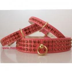 pink diamante dog collar