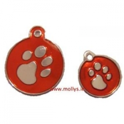 Red Paw circle id tag