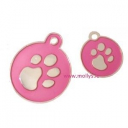 pink and silver id tag