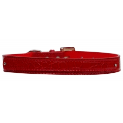 red faux croc collar
