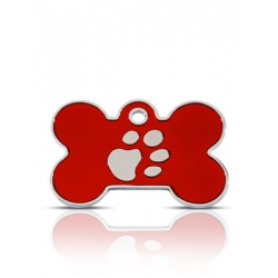 Red paw bone id tag