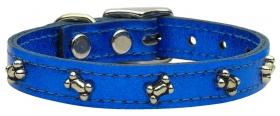 blue leather bone dog collar