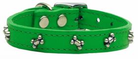 green leather bone dog collar