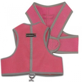 pink step in dog harness