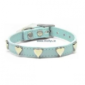 baby blue leather hearts dog collar