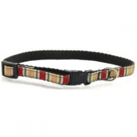 red stripe dog collar