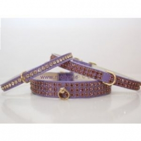 purple diamante dog collar