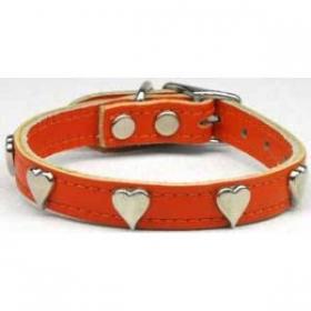 Orangeleather dog collar