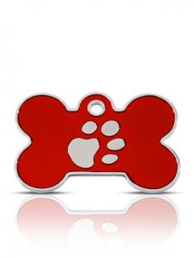 Red paw bone id tag