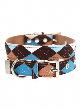 Brown & Blue Argyle Collar