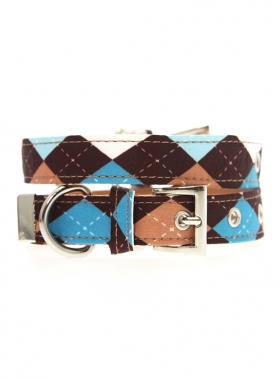 Brown & Blue Argyle Collar 1